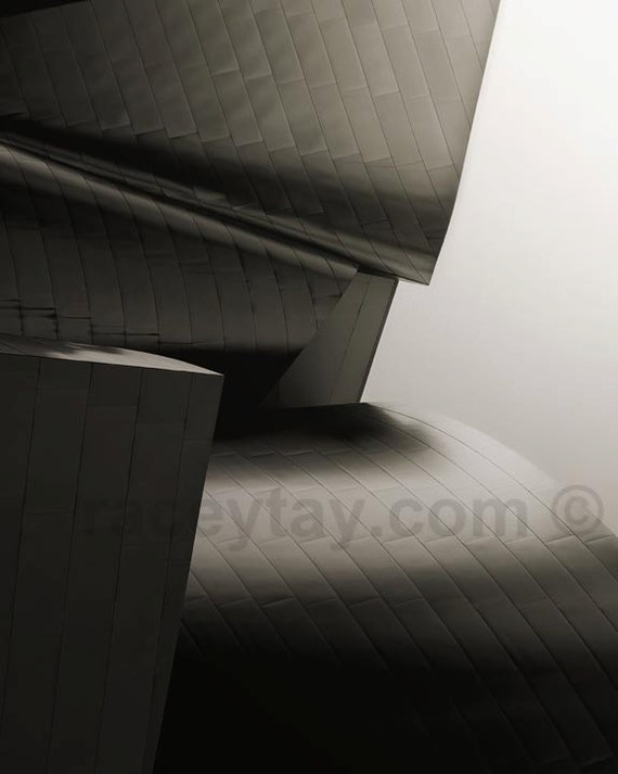 Los Angeles Print, Architecture Art, Disney Concert Hall, Gray Wall Art, Gehry Architecture, Silver Wall Art
