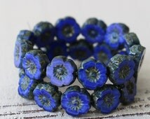 9mm Hawaiian Glass Flower Beads - Jewelry Making Supply - 9mm Pansy Flower  (12 or 6 Pansies ) Sapphire Blue Silk