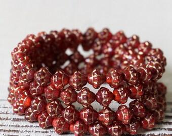 6mm Saturn Beads - Czech Glass Beads - Jewelry Making Supply - 6mm Mulberry Beads - Deep Red  - 50 Beads