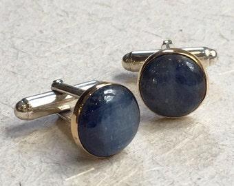 Kynite cuff links, Two tone cuff links, Silver yellow gold cuff links, round cuff links, unique bohemian cuff links -  Blue Light C8000