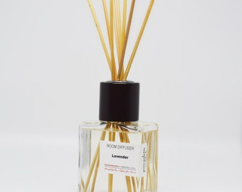 Lavender Reed Diffuser Oil - Fragrance - Home Decor / Dorm Decor with Natural Undyed Reeds