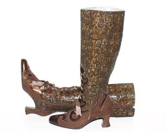 MARGARET JERROLD Vintage Metallic Snake Print Victorian Boots 6M - Authentic -