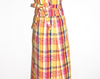 GIVENCHY NOUVELLE Vintage 2 Piece Gown Plaid Halter Dress - AUTHENTIC -