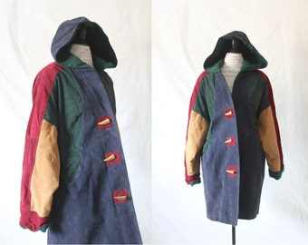 c1980's Oversized Suede Hooded Color Blocked Toggle Coat