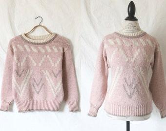 c1980's Dusty Pink Wool Blend Sweater L