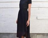 Vintage Linen 1990's Minimalist Black High Waisted Avant Garde Bias Hem Midi Skirt S/M