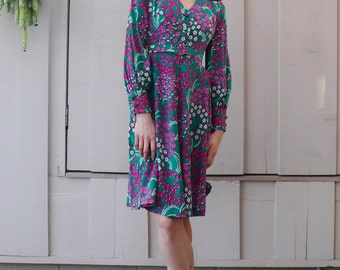 Vintage Silk Floral 1960's Pink & Green Mod Psychedelic Babydoll Mini Dress S