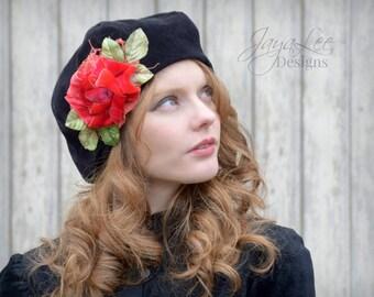 Black Beret Hat Velvet Romantic Red Rose