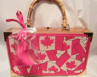 Canadian Flag Maple Leaf Wood Cigar Box Purse