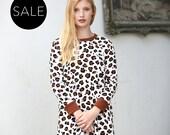 Brown Leopard print oversized jumper dress / Long sleeves shift dress - 20% Off