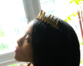 Sticks and Stones Gold Crown Headband (Coral, Bamboo, Queen, Princess, Wedding, Bride. Fairy, Nature, Cosplay)