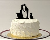 Romantic Silhouette Wedding Cake Topper with Dog Pet Family of 3 Wedding Cake Topper Bride and Groom Cake Topper