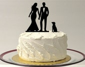 WEDDING CAKE TOPPER with Dog Bride and Groom Silhouette Cake Topper for Wedding Cake Romantic Cake Topper Wedding Topper with Peg Dog