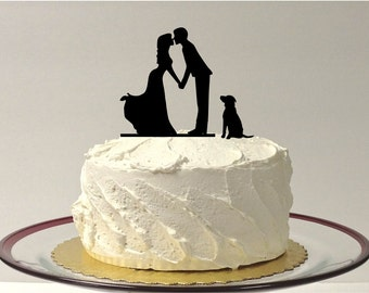 MADE In USA, Romantic Silhouette Wedding Cake Topper with Dog Pet Family of 3 Wedding Cake Topper Bride and Groom Cake Topper