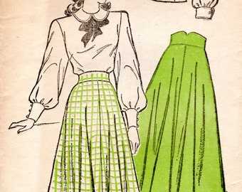 1940s Full Skirt with Wide Waistband & Blouse with Peter Pan Collar - Vintage Pattern New York 257 - Bust 38 FF