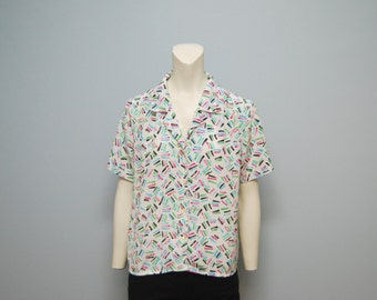 Vintage 1980's Geometric Patterned Blouse - Pink, Blue, Black, White and Green - Short Sleeves