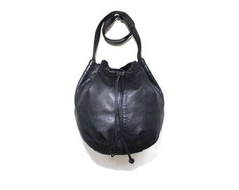 FLASH SALE Vintage Bucket Bag / Black Leather Bucket Bag / Drawstring Purse