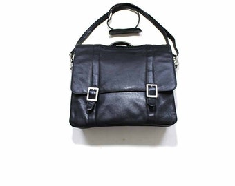 Vintage Leather Briefcase / Leather Messenger Bag / Black Leather Satchel Bag