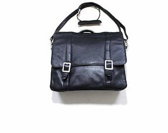 FLASH SALE Vintage Leather Briefcase / Leather Messenger Bag / Black Leather Satchel Bag