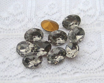 8x6 Oval Swarovski Black Diamond Rhinestones