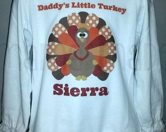 Girl's Daddy's Little Turkey Shirt or Bodysuit Thanksgiving shirt girls thanksgiving shirt Fall Colored Thanksgiving Turkey Shirt  bodysuit