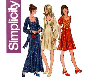 Simplicity 5347 Womens Boho Kawaii Cute Princess Dress or Maxi 70s Vintage Sewing Pattern Size 14 Bust 36 inches