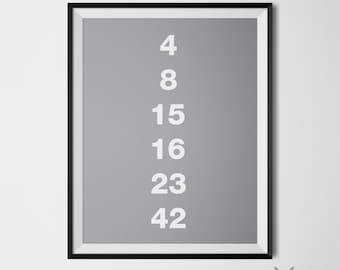 Lost Hugo Lottery Number 4, 8, 15, 16, 23, 42 Lost Tv Show Poster Minimalist Wall Art Instant Download Grey White Home Decor Lost Tv Series
