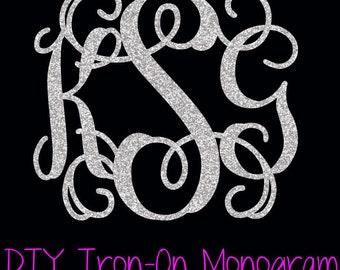 Iron On Monogram - DIY Iron On - Glitter Monogram - Heat Transfer Vinyl Monogram