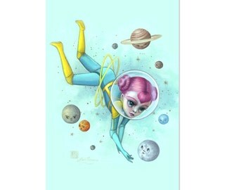 Andromeda and the Petulant Planets - 4 x 5.75 Mini Art Print by Mab Graves - unframed