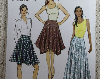 Vogue 9007, Misses' Skirt Sewing Pattern, Easy Skirt Pattern, 3 Hem Variations for Skirt, Misses' Size 6, 8, 10, 12, 14, Uncut