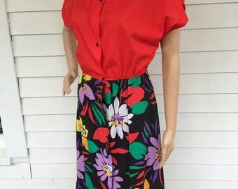 80s Red Tropical Print Casual Dress Retro 1980s Smart Time Floral Black Senorita S M