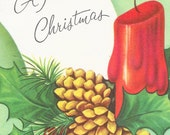 Never Used, 1950's Wishing You A Merry Christmas Greeting Card w/ Envelope, Candle, Pine Cones, Holly,  Mid Century, Vintage Christmas Card