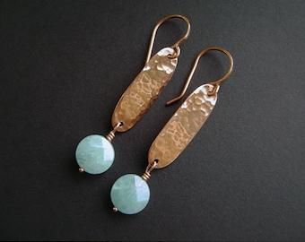 Aqua Jade Earrings, Hammered Copper, Copper Oval, Polished Copper, Bar Earrings, 959