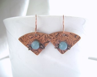 Copper Earrings, Blue Agate, Blue Earrings, Wire Wrapped, Handmade Jewelry, Geometric Earrings, Hammered Copper, Fan Earring, Aqua Blue, 988
