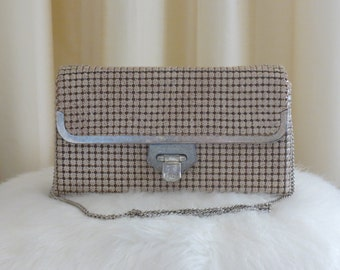 Vintage 60s Egg Shell Speckled Glomesh Metal Mesh Handbag Shoulder Bag Purse Clutch