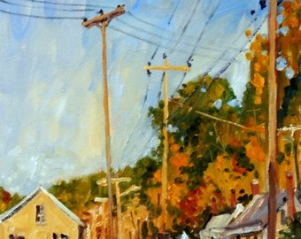 Mill Houses and Poles, October in North Adams. Original Oil on Panel, 10x20 Plein Air Autumn Landscape Painting, Signed Original Fine Art