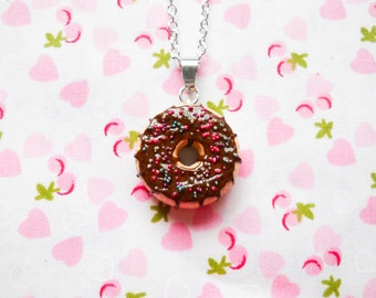 Doughnut Necklace, Donut Necklace, Sprinkle Donut, Food Necklace, Dessert Necklace, Miniature Food, Sprinkle Doughnut, Lolita, Kawaii