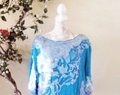 BIG ASS SALE vintage 70s 80s sequin paillette beaded trophy top blouse pastel blue dollman sleeve silk boho festival flapper