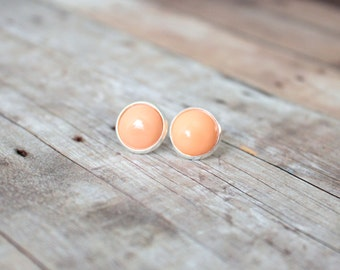 A P R I C O T - Light Apricot Peach Color Cab, Silver Plated Stud Earrings, 12mm