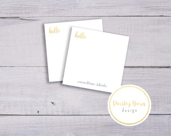 Gold HELLO Sticky Notes | Personalized, stationary, post it note, printed, marketing, gray