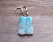Amazonite Earrings, Natural Stone, Mint Green Earrings, 14 K Gold Filled, Long Dangle, Amazonite Jewelry, One Of A Kind, Gift For Her