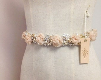 Blush Floral and Crystal Bridal Sash- Blush Bridal Belt- Floral Bridal Sash