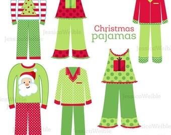 Christmas Pajamas Cute Digital Clipart, Christmas Clip art, Christmas Graphics, Pajama Clip art, Sleepwear, Christmas graphics, Scrapbooking