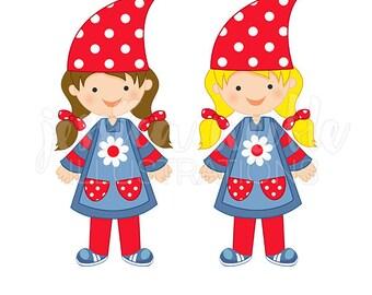 Gnome Girl Cute Digital Clipart, Gnome Clip art, Gnome Outfit Graphics, Cute Gnome Girl Illustration, #244