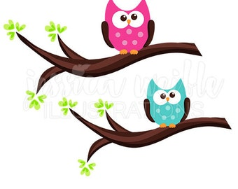Little Owl on Branch Cute Digital Clipart, Cute Owls Clip art, Owl Graphics, Pink Owl Illustration, #1028