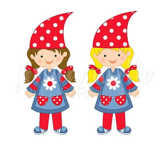 Gnome Clip Art: Gnome Girl Cute Digital Clipart Gnome Clip Art Gnome Outfit