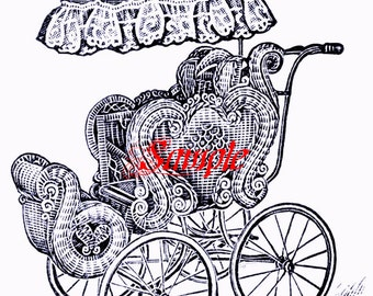 Old Fashioned Baby Pram Reproduction Baby Card Downloadable, Printable, Digital Art Image - Instant Download Scrap Booking, Baby Shower