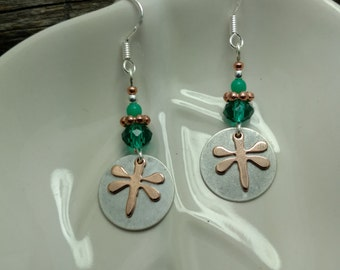 Emerald Green Dragonfly Earrings, Copper Dragonfly Sterling Silver Earrings, Dragonfly Earrings, Green Dragonfly Earrings