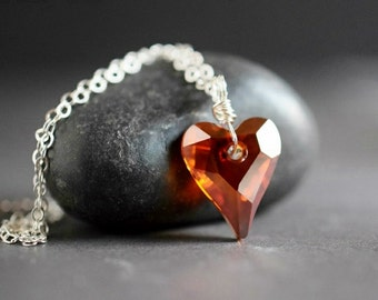 Red Crystal Heart Necklace Heart Pendant Red Pendant Red Magma Swarovski Heart Red Necklace Sterling Silver Wire Wrap Romantic Gift