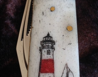 Knife-Rough Rider-Bone Scales-Original Sankaty Lighthouse Scrimshaw